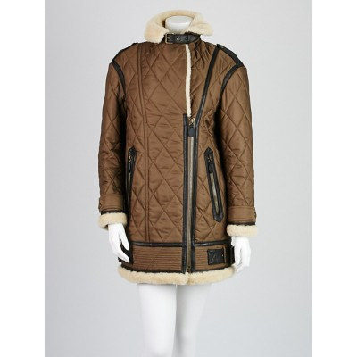 Burberry Brit Olive Quilted Polyester Shearling Trim Reeseford Jacket Size S