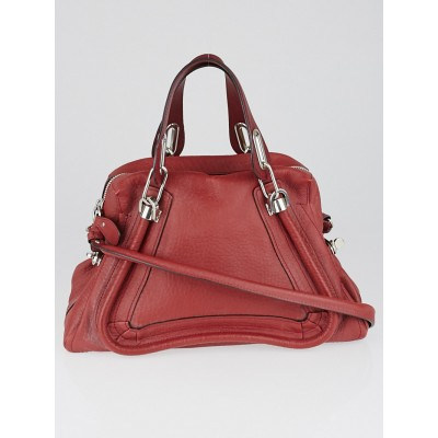 Chloe Red Pebbled Leather Medium Paraty Bag