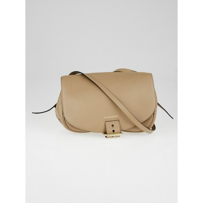 Burberry Beige Leather Buckled Crossbody Bag