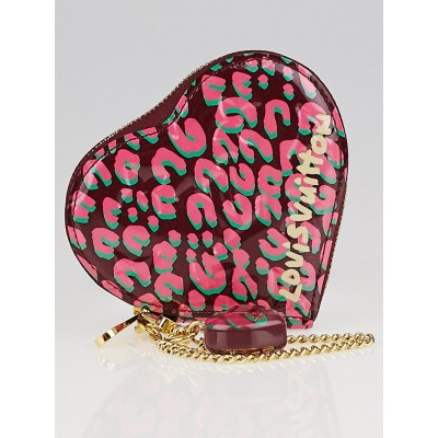 Louis Vuitton Limited Edition Rouge Fauviste Monogram Vernis Leopard Heart Coin Purse