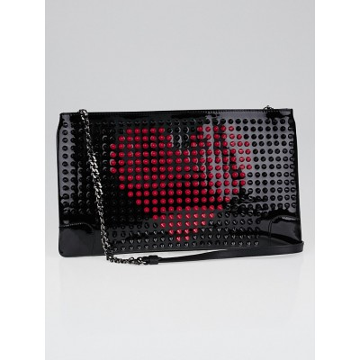 Christian Louboutin Black/Fuchsia Patent Leather Loubiposh Valentines Spiked Clutch Bag