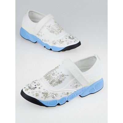 Christian Dior White Technical Fabric Embellished Fusion Sneakers Size 8/38.5