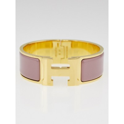 Hermes Light Purple Enamel Gold Plated Clic-Clac H PM Wide Bracelet