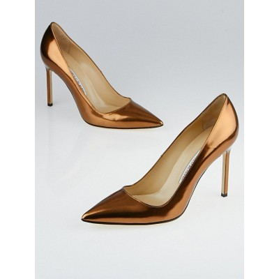 Manolo Blahnik Copper Patent Leather BB 105 Pointed Toe Pumps Size 8.5/39