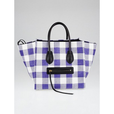 Celine Blue and White Gingham Woven Straw Medium Phantom Luggage Tote Bag