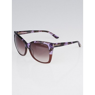 Tom Ford Violet Havana Frame Gradient Tint Carli Sunglasses - TF295