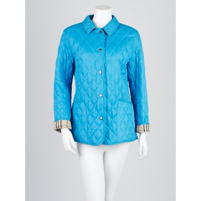 Burberry Blue Diamond Quilted Polyester Jacket Size S