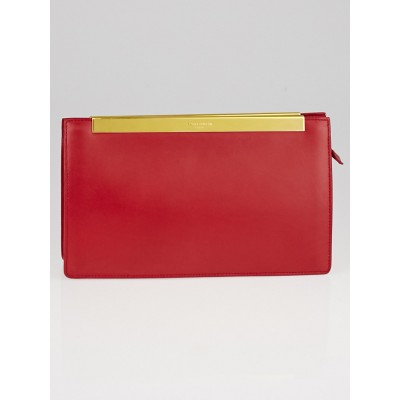 Yves Saint Laurent Red Smooth Calfskin Leather Lutetia Clutch
