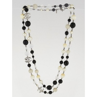 Chanel Black/White Glass Bead and Crystal CC Long Necklace