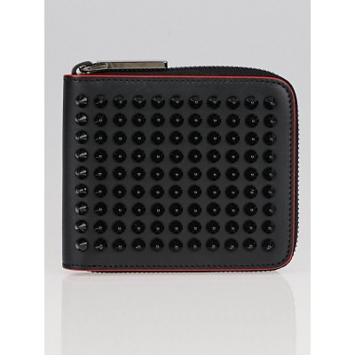 Christian Louboutin Black Calf Leather Panettone Spikes Square Wallet