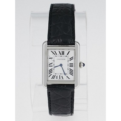 Cartier Stainless Steel Black Embossed Leather Tank Solo Watch WD200003