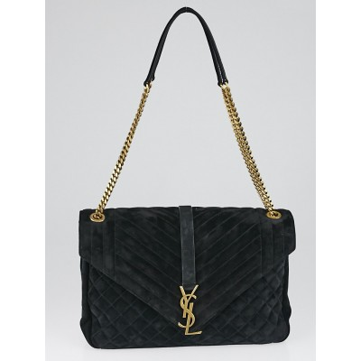 Yves Saint Laurent Black Mixed Matelasse Suede Large Monogram Envelope Satchel Bag