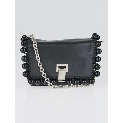 Proenza Schouler Black Leather Pom Pom Extra Small Courier Bag