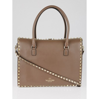 Valentino Taupe Leather Rockstud Double Handle Tote Bag