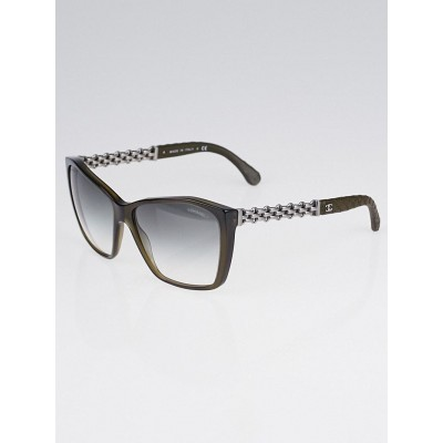 Chanel Brown Acetate Frame Chain Sunglasses-5327