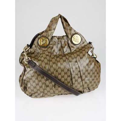 Gucci Beige/Ebony GG Crystal Coated Canvas Large Hysteria Top Handle Bag