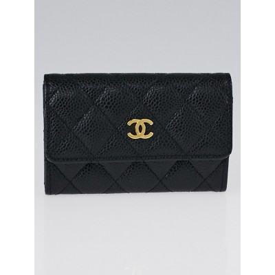 Chanel Black Quilted Caviar Leather Flap Card Case Holder