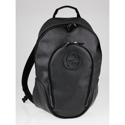 Gucci Black Coated Canvas Backpack Bag