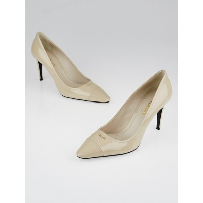 Prada Pale Beige Patent Leather Pointed-Toe Pumps Size 8.5/39