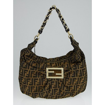 Fendi Tobacco Zucca Print Canvas Mia Hobo Bag 8BR631