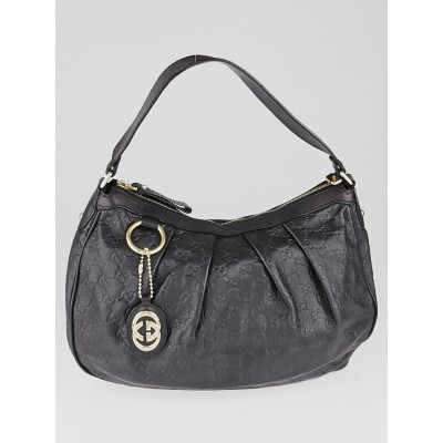 Gucci Black Guccissima Leather Sukey Medium Hobo Bag