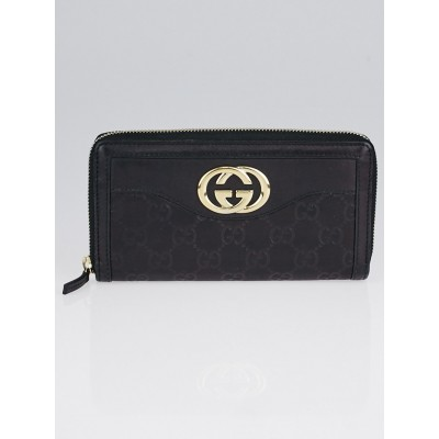 Gucci Black Guccissima Leather Interlocking G Zippy Wallet