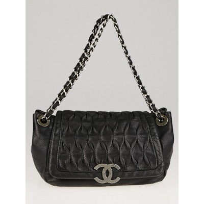 Chanel Black Perforated Leather CC Accordion Flap Bag