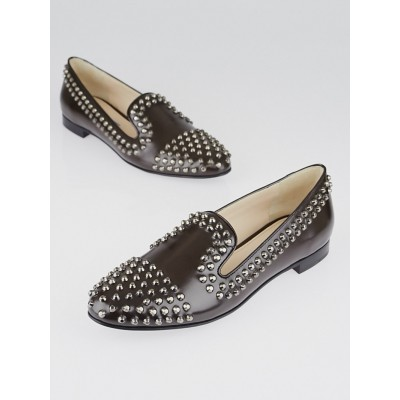 Prada Brown Leather Studded Loafer Flats Size 7/37.5