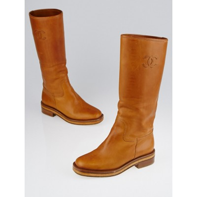 Chanel Brown Leather CC Flat Boots Size 4.5/35