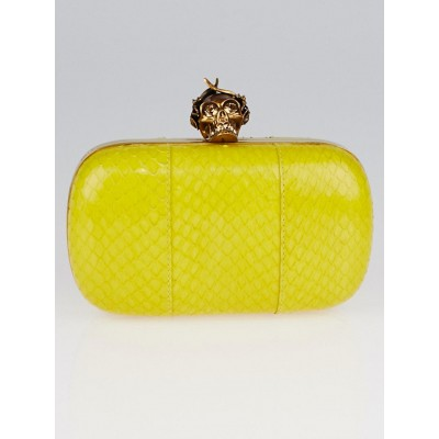 Alexander McQueen Yellow Snakeskin Bee Punk Skull Box Clutch Bag