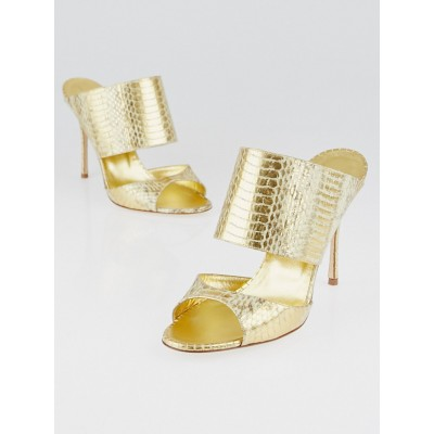 Manolo Blahnik Gold Embossed Leather Ripta Slide Sandals Size 6.5/37