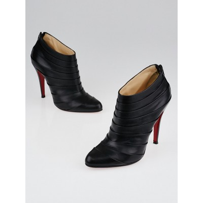 Christian Louboutin Black Pleated Leather Orniron 100 Ankle Boots Size 6.5/37