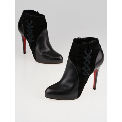 Christian Louboutin Black Calf Leather/Suede Covered 120 Ankle Boots Size 6.5/37