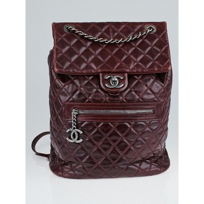 Chanel Burgundy Quilted Calfskin Leather Mountain Small Backpack Bag