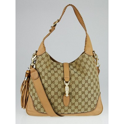 Gucci Beige GG Canvas New Jackie Medium Hobo Bag
