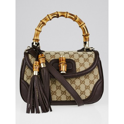 Gucci Beige/Ebony GG Canvas and Leather New Bamboo Top Handle Bag