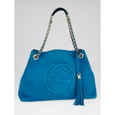 Gucci Turquoise Nubuck Leather Soho Chain Tote Bag