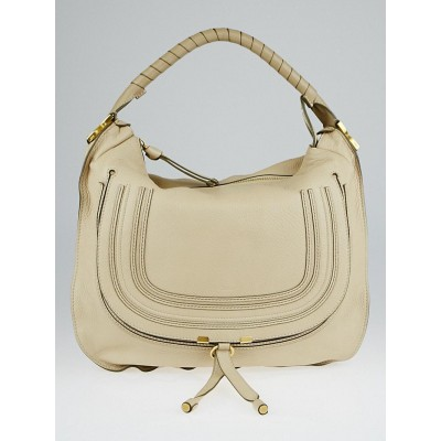 Chloe Milk Pebbled Leather Large Marcie Hobo Bag