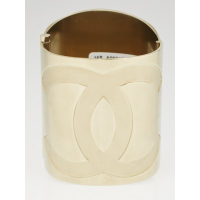 Chanel Goldtone Metal and Mirror CC Wide Cuff Bracelet