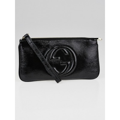 Gucci Black Patent Leather Soho Wristlet Pochette Bag