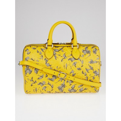Gucci Beige/Yellow GG Coated Canvas Supreme and Leather Arabesque Top Handle Medium Boston Bag
