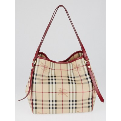 Burberry Red Leather Haymarket Check Coated Canvas Canterbury Tote Bag