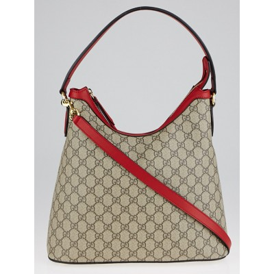 Gucci Beige/Red GG Supreme Coated Canvas Hobo Bag