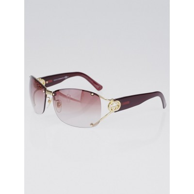 Gucci Goldtone Metal Frame Gradient Tint Crystal GG Sunglasses-2820
