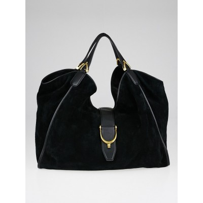 Gucci Black Suede Soft Stirrup Large Shoulder Bag