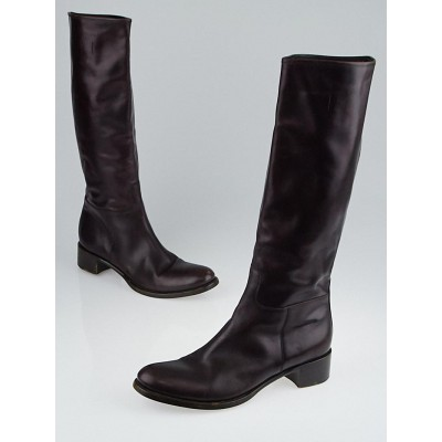 Prada Brown Leather Knee-High Boots Size 9.5/40