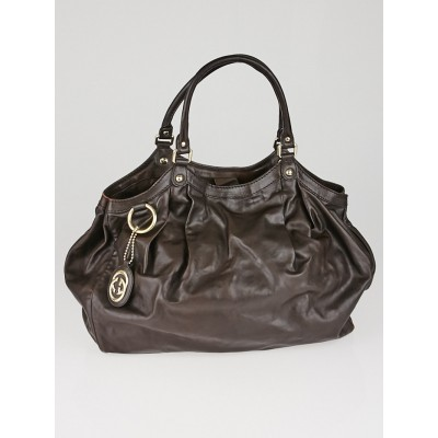 Gucci Brown Leather Large Sukey Tote Bag