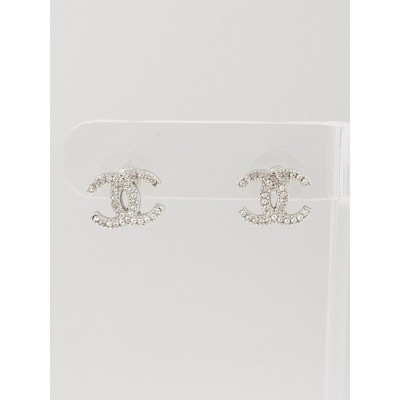 Chanel Silvertone Crystal CC Stud Earrings