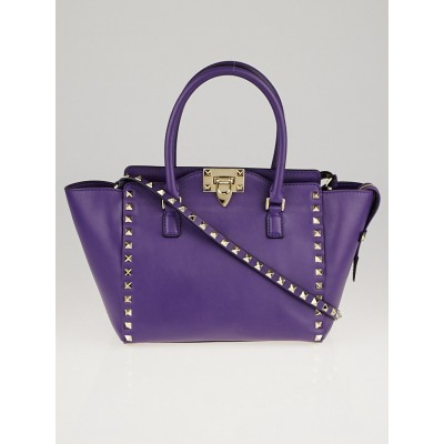 Valentino Purple Leather Rockstud Small Double Handle Tote Bag