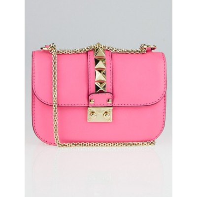 Valentino Fluo Pink Calfskin Leather Rockstud Lock Small Flap Bag